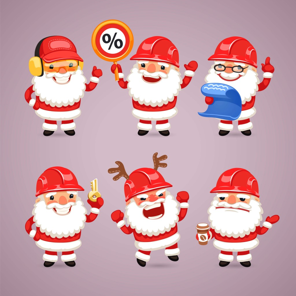 Set of Cartoon Santa Claus Builders