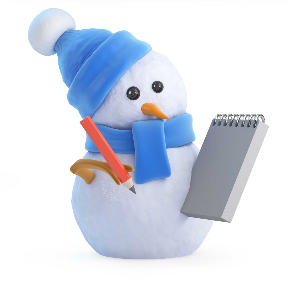 Blue snowman writes in his notepad